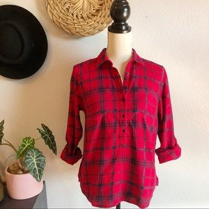 Tommy Hilfiger Red Plaid Flannel Top